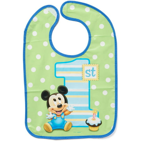 Mickey Mouse First Birthday Party Vinyl Baby Bib, 14