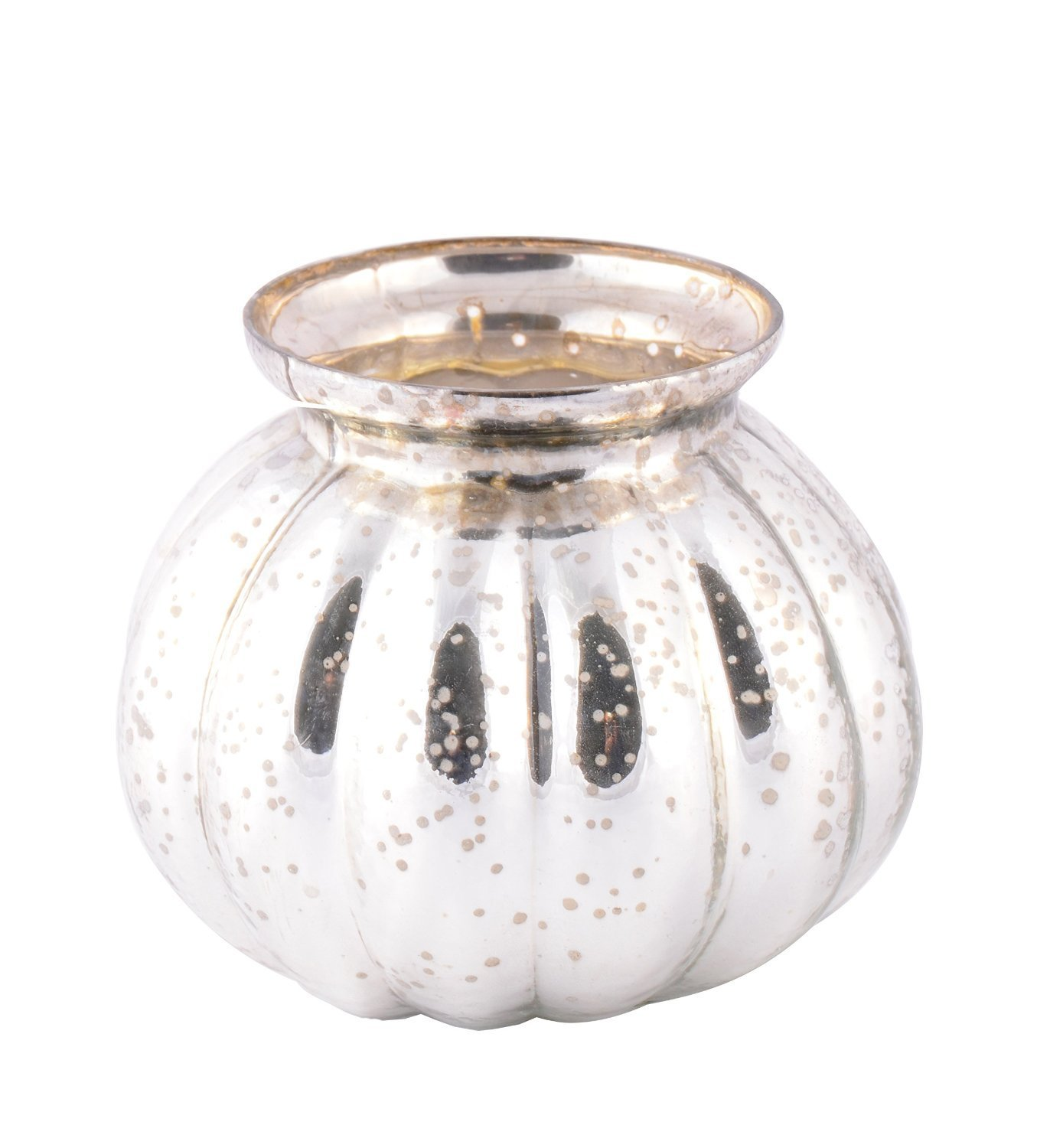 Silver Round Pot Style Antique Glass Tealight Votive Candle Holder Beautiful Evening Wedding Parties Home Décor Table Decoration or Gift by MystiqueDecors