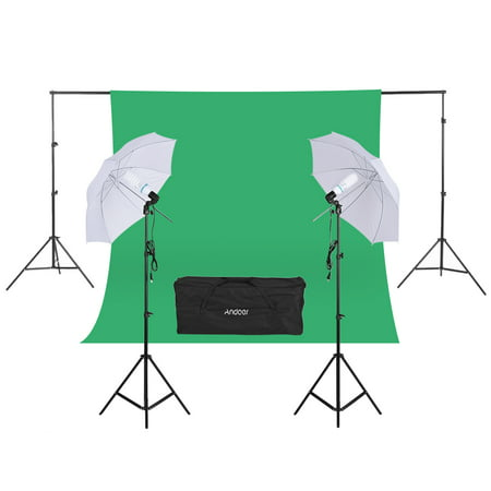 "Andoer Photography Kit 2 * Backdrop Stand 1.8 * 2.7m Green Muslin Backdrop 2Pcs 135W 5500K White Daylight Light Bulbs with 2 Swivel sockets 2Pcs 33"" White Soft Light Umbrella 2Pcs Light Stand for Pho - image 7 de 7"
