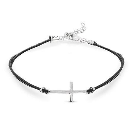 Sterling Silver Cross Bracelet - Sterling Silver Sideways Cross Black Leather Bracelet