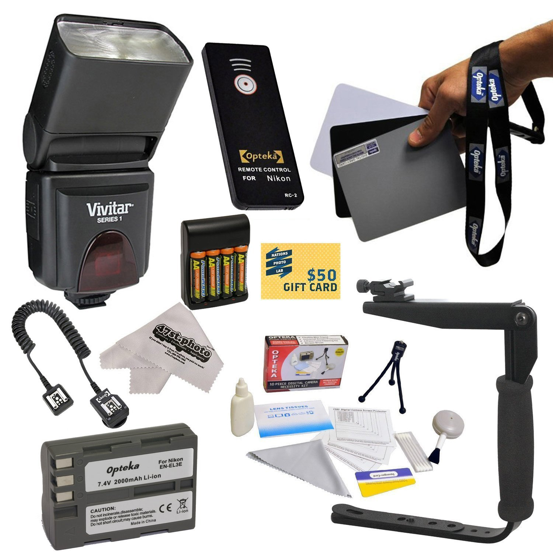 Dedicated E-TTL Speed Light Flash Kit for The Nikon D700, D300S, D300, D200, D100, D90, D80, D70, D70s, & D50... by Opteka