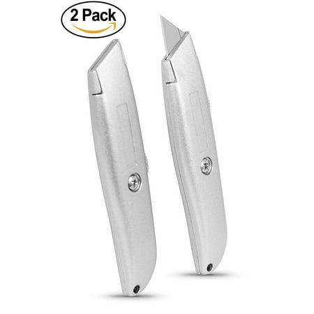 Internet's Best Classic Utility Knife   Set of 2   Retractable Razor Knife Set   Extra Blade Refills   Box Cutter Locking Razor Knife   Full Metal