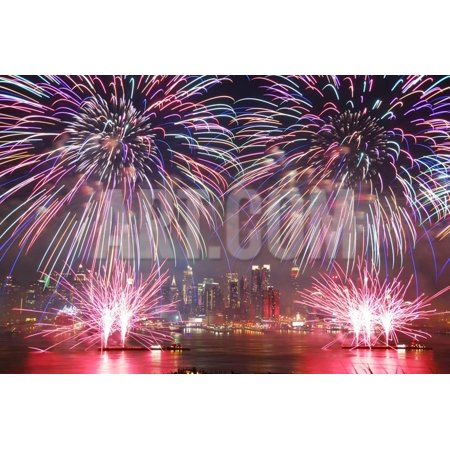 NEW YORK CITY - JUL 4: New York City Manhattan Independence Day Firework Show in Hudson River as An Print Wall Art By Songquan
