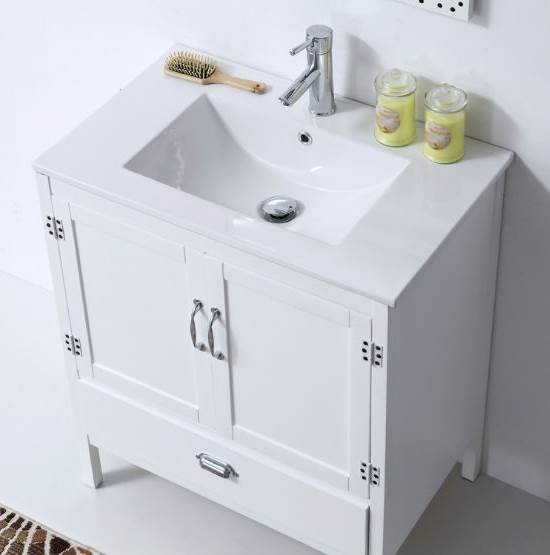 35 in. Single Sink Vanity in Matte White