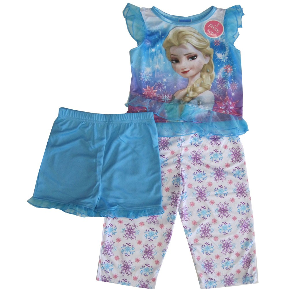 Disney Little Girls Blue Frozen Elsa Graphic Print Ruffle 3 Pc Pajama Set 2-4T