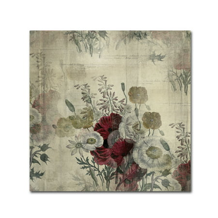 Trademark Fine Art Floral Collage White Space Canvas Art By Marcee Duggar