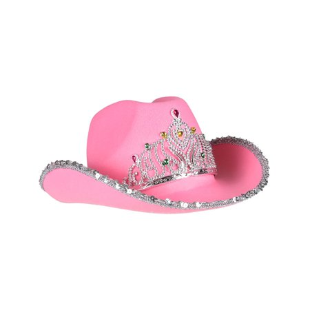Child's Pink Princess Tiara Cowgirl Cowboy Hat Costume (Fur Cowgirl Hat)