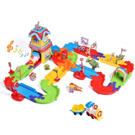 Train Sets with Variable Railway Tracks for Kids, Electric Toy Trains with Lights and Sounds, 3D Puzzles Train Track Accessories F-250