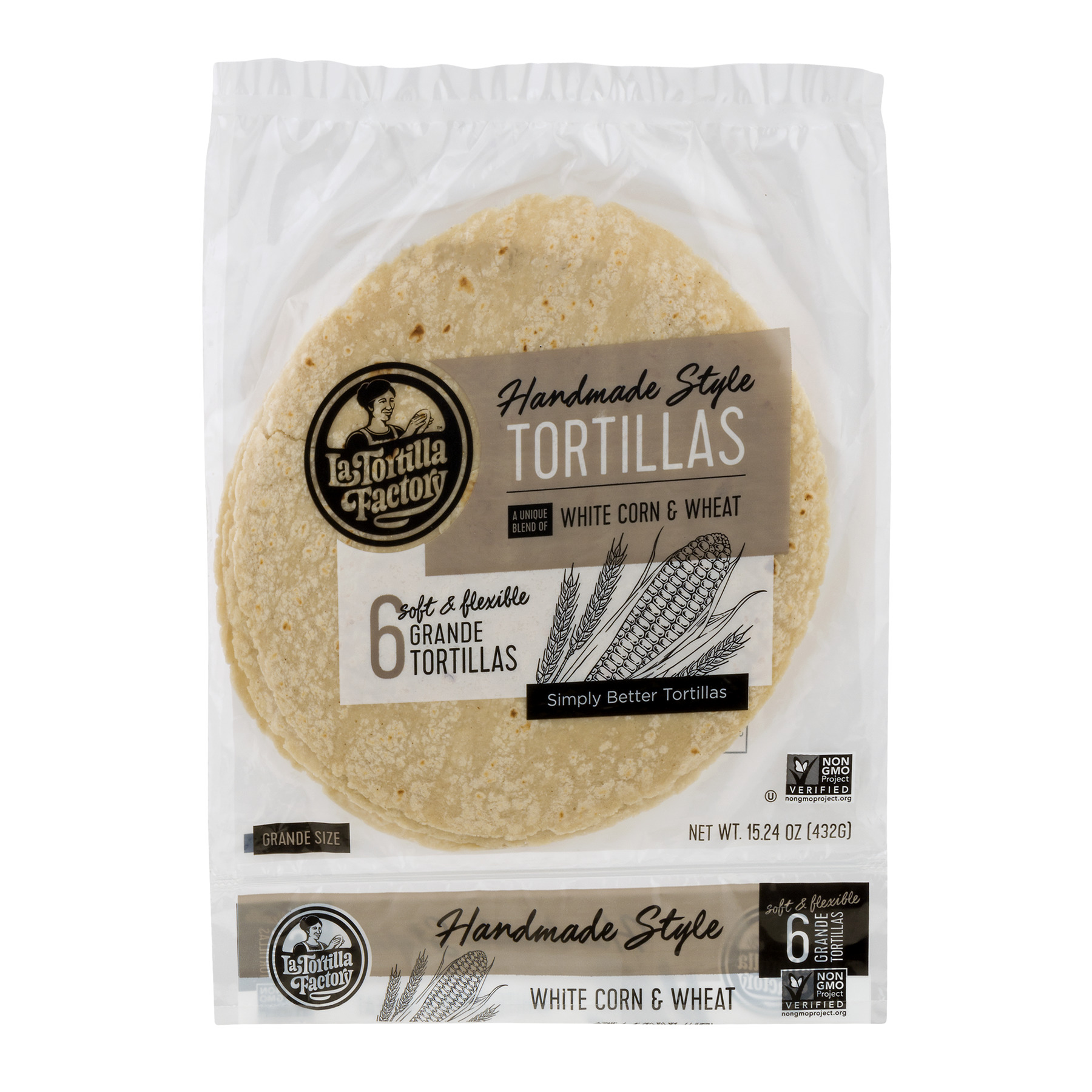 La Tortilla Factory Handmade Style Tortillas White Corn & Wheat  - 6 CT