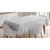 Grey And White Tablecloth, Abstract Circling Wavy Geometric Round Oval
