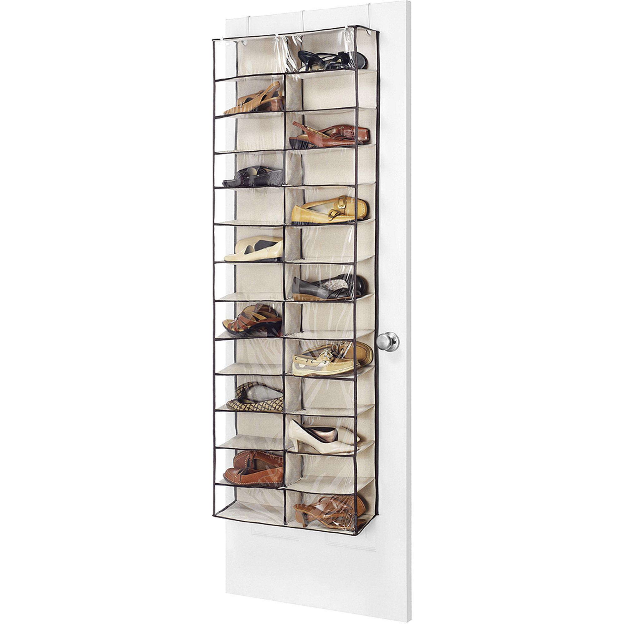 Whitmor Over-The-Door Shoe Shelves, Tan/Espresso