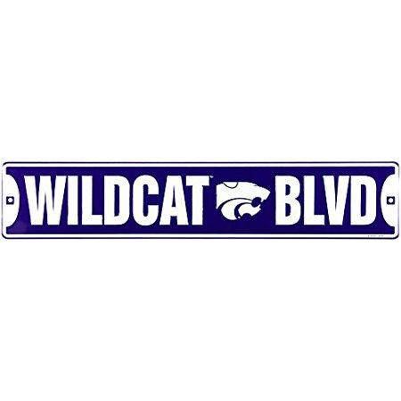 Kansas State Wildcat Blvd Boulevard Embossed Metal Street Sign