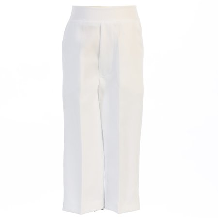 Boys White Elastic Special Occasion Long Dress Pants 14