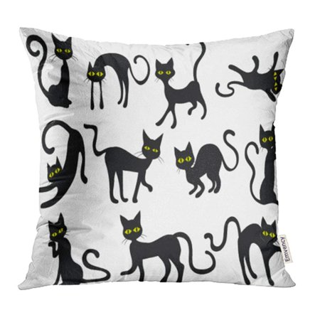 ARHOME Yellow Holloween Black Cats Silhouettes Clip Halloween Eyes Face Clipart Scared Pillow Case Pillow Cover 16x16 inch Throw Pillow Covers