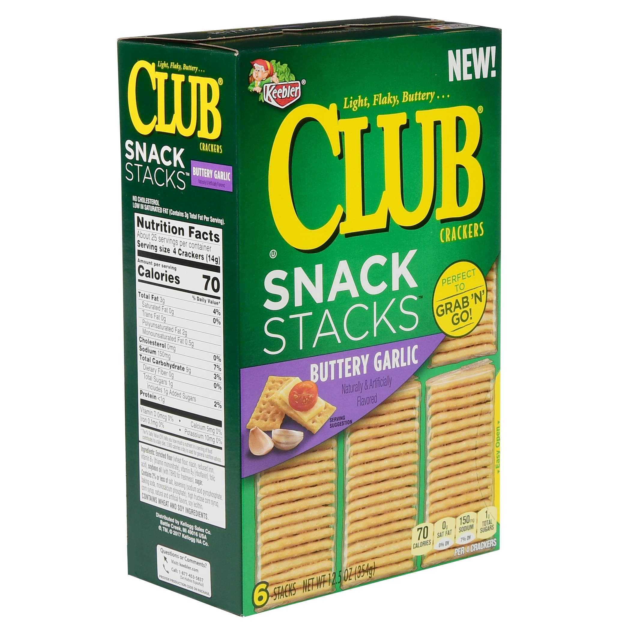 Keebler Club Snack Stacks Buttery Garlic Crackers 12.5 oz