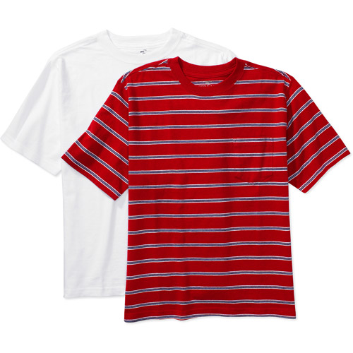 Faded Glory - Boys' Stripe and Solid Tee, 2 Pack