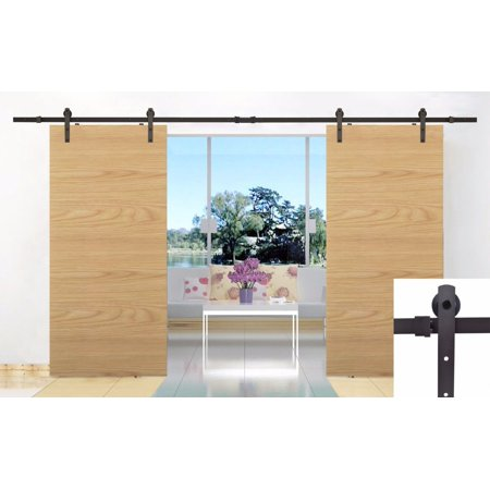 Tms 12ft country style double sliding barn door track for 12 foot barn door track