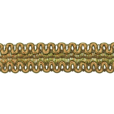 Vintage 2 Inch (5cm) Wide Olive Green, Light Gold, White Gimp Braid Trim - Olive Garden 010 (Sold by The Yard)
