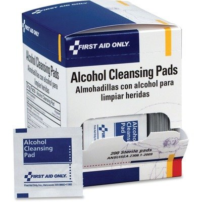 Box Alcohol - First Aid Only Alcohol Cleansing Pads, Dispenser Box, 100/Box
