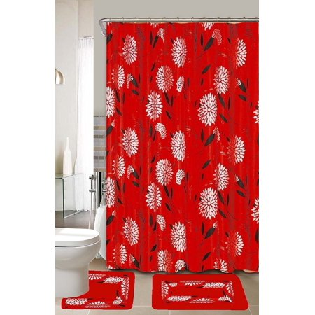 anna red black floral 15 piece bathroom accessory set 2 bath mats shower curtain rings. Black Bedroom Furniture Sets. Home Design Ideas