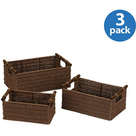 Household Essentials Paper Rope Baskets, Set of - Paper Basket Weaving