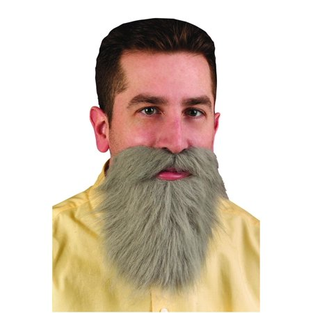 Grey Mustache & Long Beard Costume Accessory - Beard And Mustache Costume