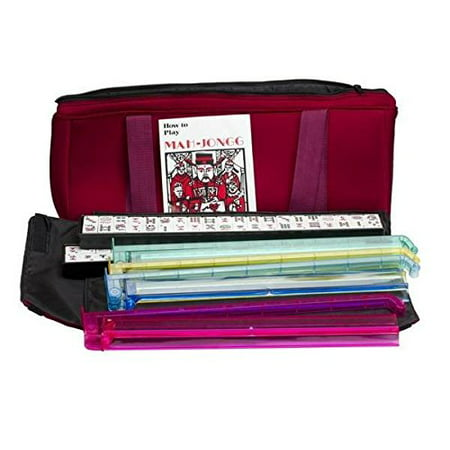 American Mah Jongg Soft Bag Case New 166 Tile Set with 4 Color Pushers, Burgundy Mah Jongg Case