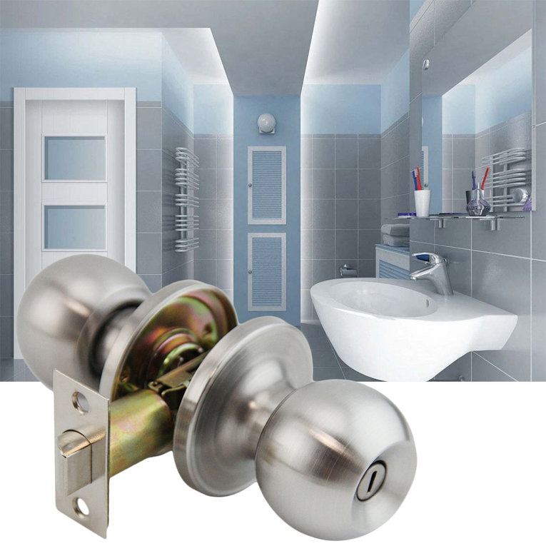 10 pcs Sliver 201 Stainless Steel Brushed Round Ball Privacy Door Knob Set
