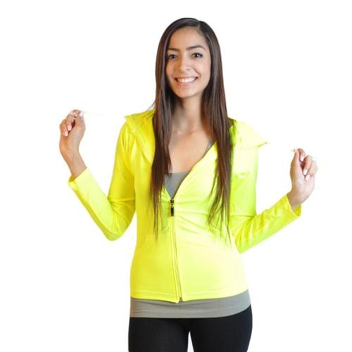 Junior Long Sleeve Full-Zip Hooded Jacket Hoodie (One Size Fits All) - Neon Yellow