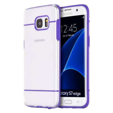 Samsung Galaxy S7 Edge Case, by Insten Hard Plastic/Soft TPU Rubber Case Cover For Samsung Galaxy S7 Edge, Clear/Purple