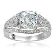 Platinum Tone Over Sterling Silver 100 Facets Cubic Zirconia Cushion-Cut Ring