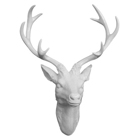 Three Hands White Resin Deer Head Wall Accent ()