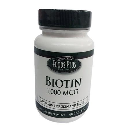 Moulin à vent Vitamines Biotin 1000 mcg comprimés par Food Plus - 60 Ea