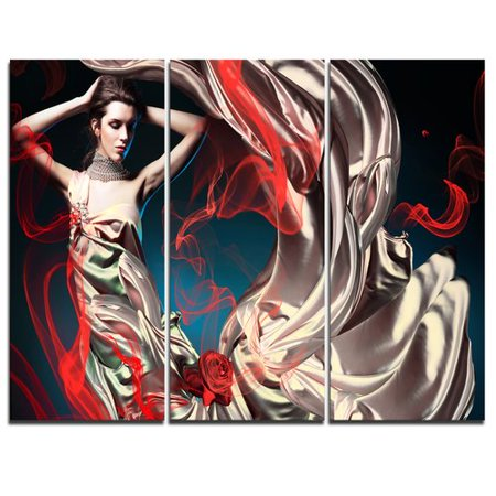 Womens Fairy Dress (Design Art Woman in Long Fairy Dress - 3 Piece Graphic Art on Wrapped Canvas)