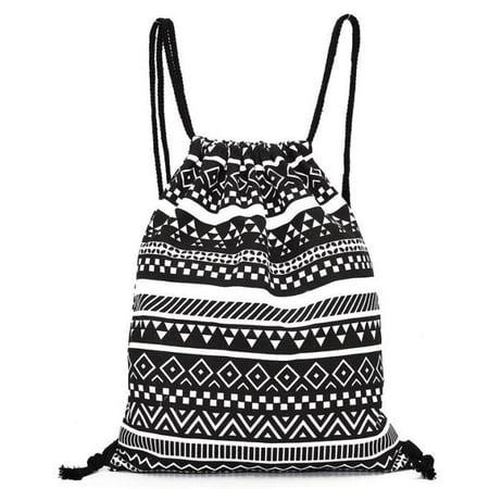 Unisex Retro Geometric Backpacks Printing Bags Drawstring Backpack (Drawstring Backpacks)