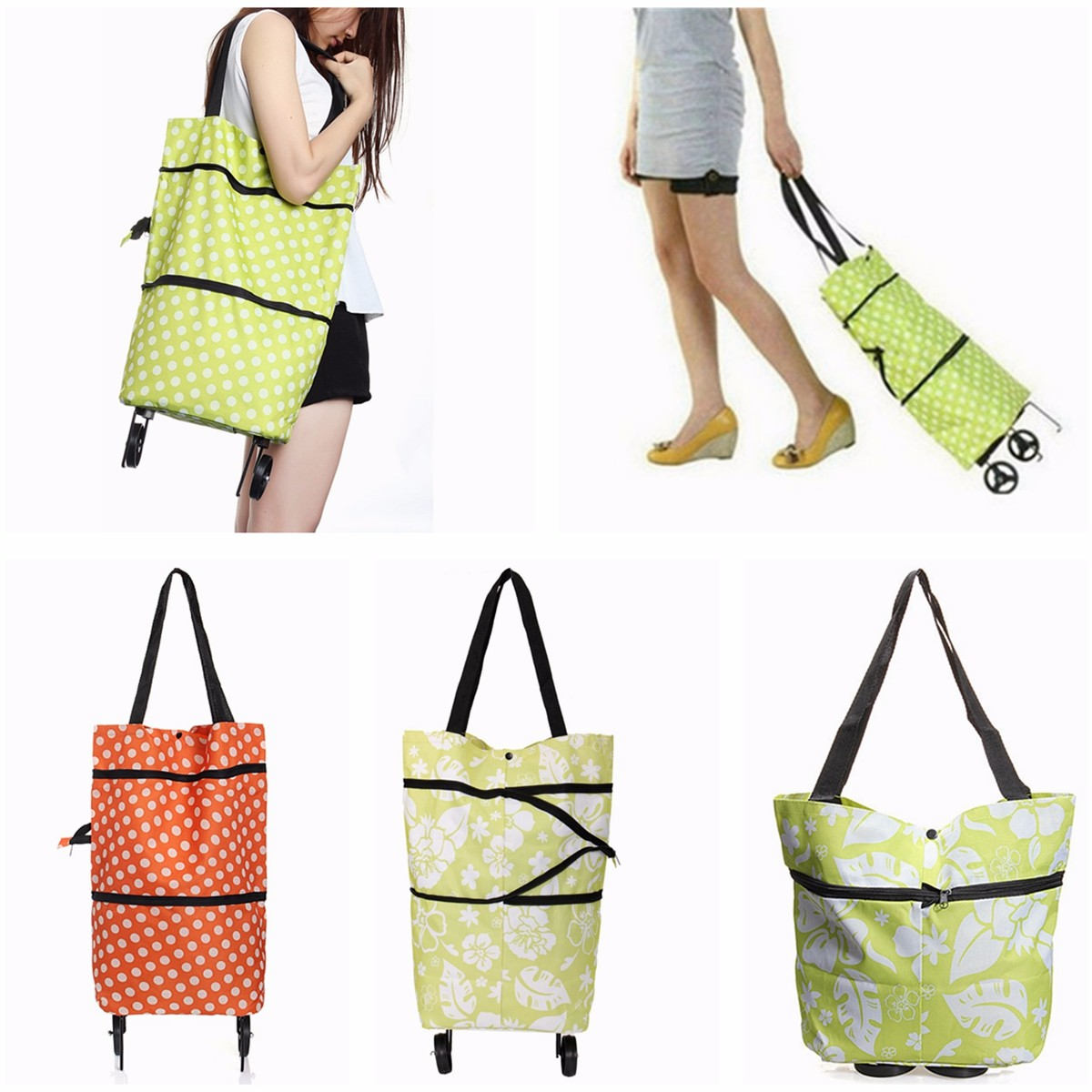 Foldable Shopping Trolley Cart Rolling Wheels Grocery Shoulder Tote Bag Handbags,Green Flower color