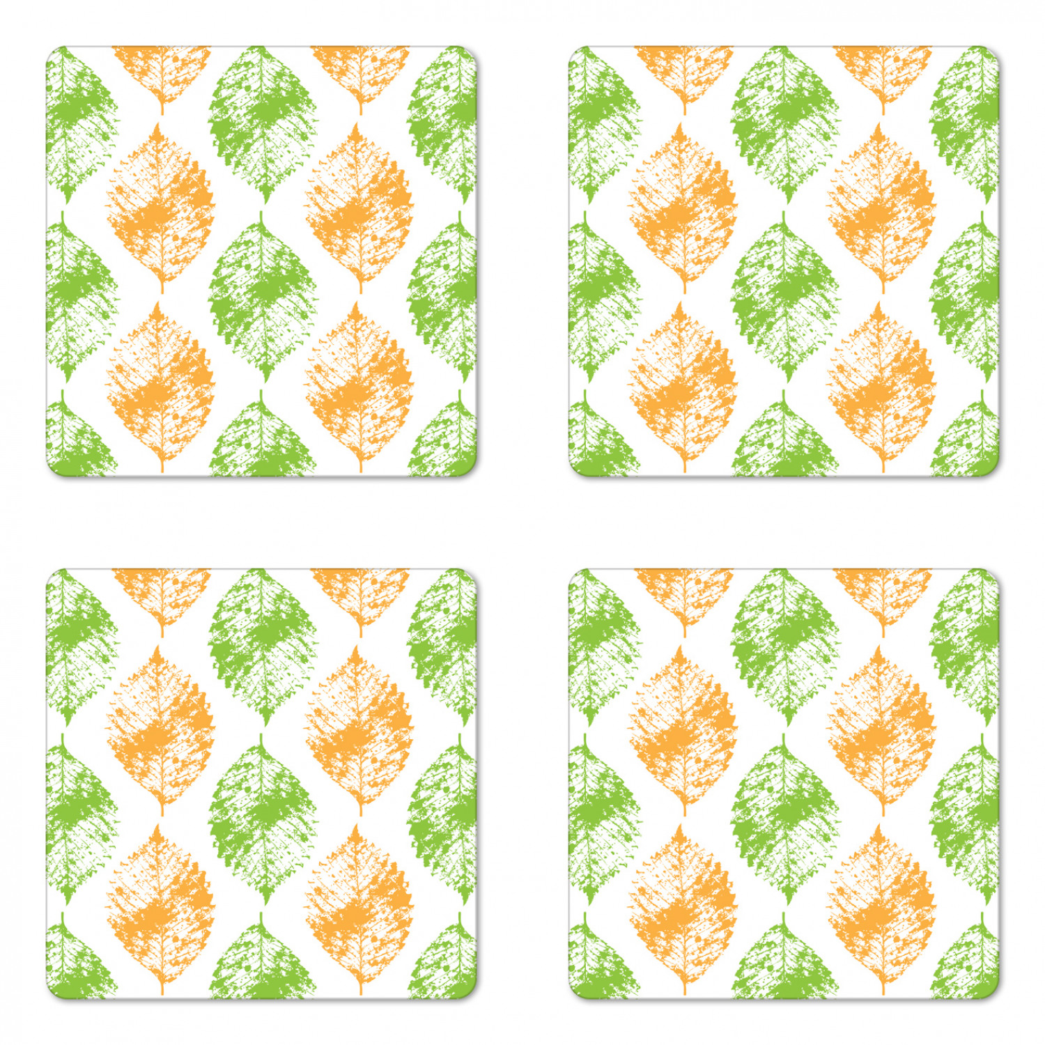 Leaves Coaster Set Of 4 Illustration Print Of Leaf Intricate Motifs Minimalist Design Grunge Art Square Hardboard Gloss Coasters Standard Size White And Lime Green By Ambesonne Walmart Com Walmart Com