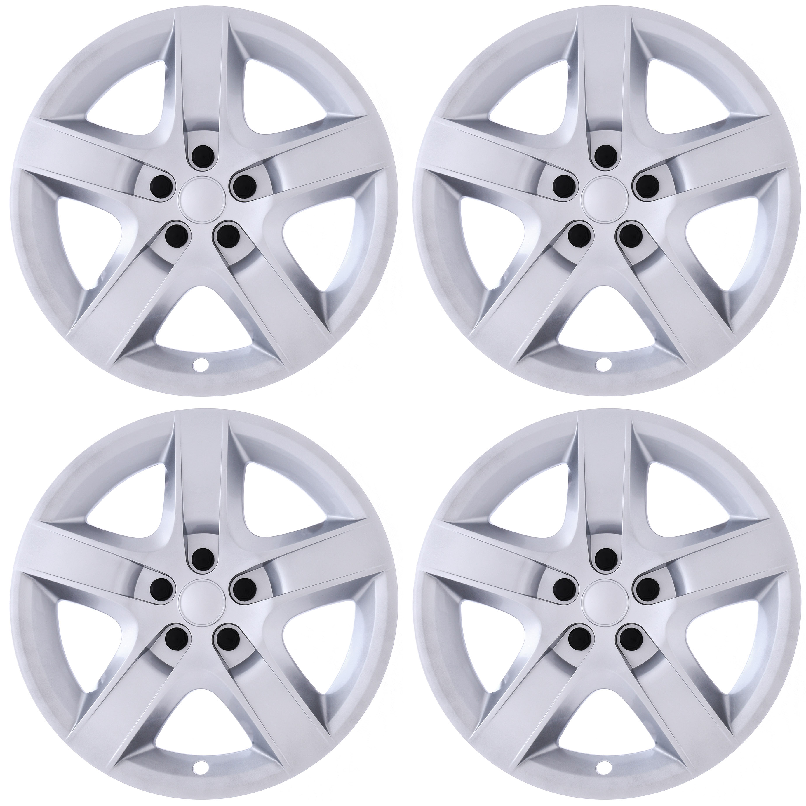 """Cover Trend (Set of 4) SILVER 17"""" Inch Hub Caps fits CHEVY MALIBU - 5 Spoke Aftermarket Chevrolet Wheel Covers"""