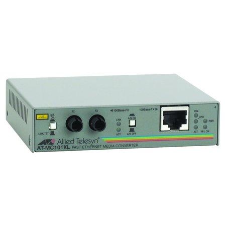 Allied Telesis AT-MC101XL-90 Fast Ethernet Media Converter – 1 x RJ-45 , 1 x ST Duplex – 100Base-TX, 100Base-FX – Wall