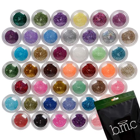 BMC 45pc Mixed Color Design Shapes Nail Polish Art Shinny Sparkle Glitters Set for $<!---->