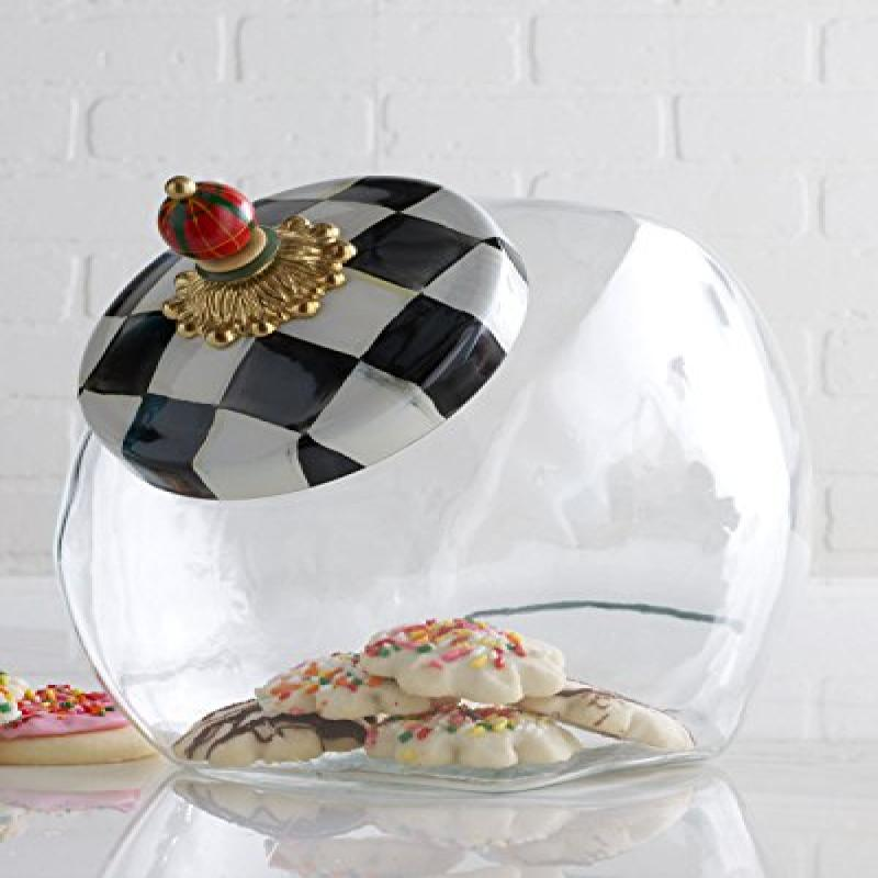 MACKENZIE-CHILDS Cookie Jar With Courtly Check Enamel Lid...