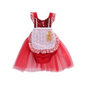 StylesILove Infant Baby Girl Tulle Sequin Romper Dress with Apron Design Christmas Outfit Dress 2 pcs Set (80/6-12 Months)