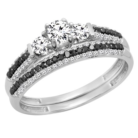 10K White Gold Round White Sapphire, Black & White Diamond Ladies 3 Stone Bridal Engagement Ring Set