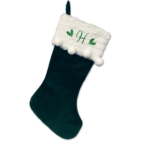 Monogrammed Christmas Stocking, Green Stocking With Balls with Script Glitter Initial](Monogrammed Stocking)