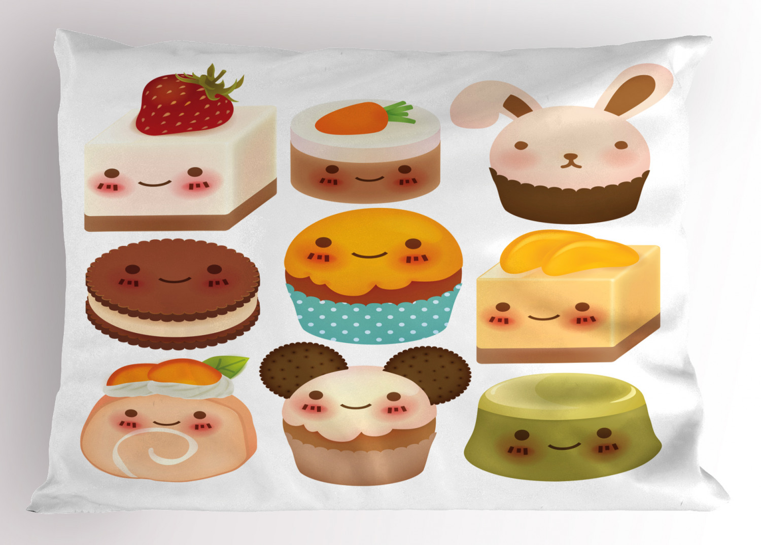 Cookie Pillow Sham, Chubby Kawaii Baked Goods with Smileys ...