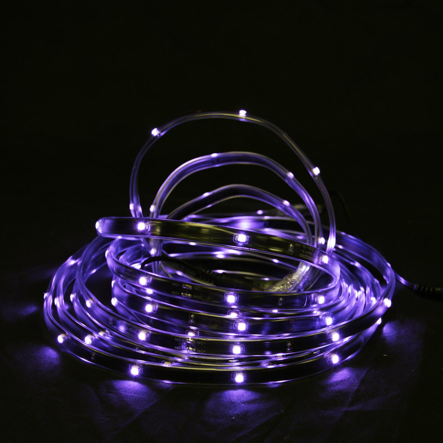 18' Purple LED Indoor/Outdoor Christmas Linear Tape Lighting - Black Finish