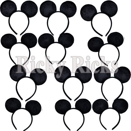 12 Mickey Mouse Ears Headbands Party Costume Favors Girls Boys Plush (12 Pack) - Frozen Mickey Ears