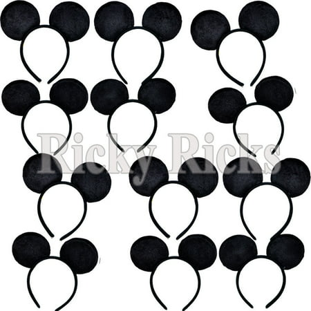 12 Mickey Mouse Ears Headbands Party Costume Favors Girls Boys Plush (12 Pack)