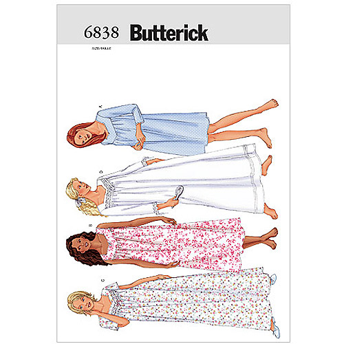 Butterick Pattern Misses' and Misses' Petite Nightgown, L (L, XL)
