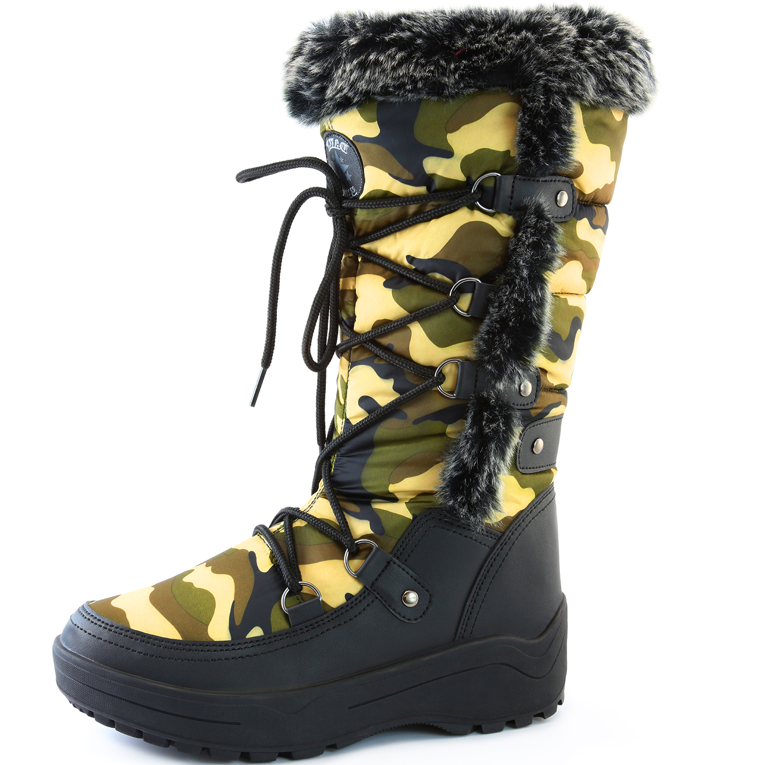DailyShoes Woman's Knee High Lace Up Warm Fur Water Resistant Eskimo Snow Boots, Black, 9 B(M) US by